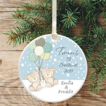 Twins' 1st Christmas Ceramic Xmas Tree Decoration - Cute Teddies and Balloons Design